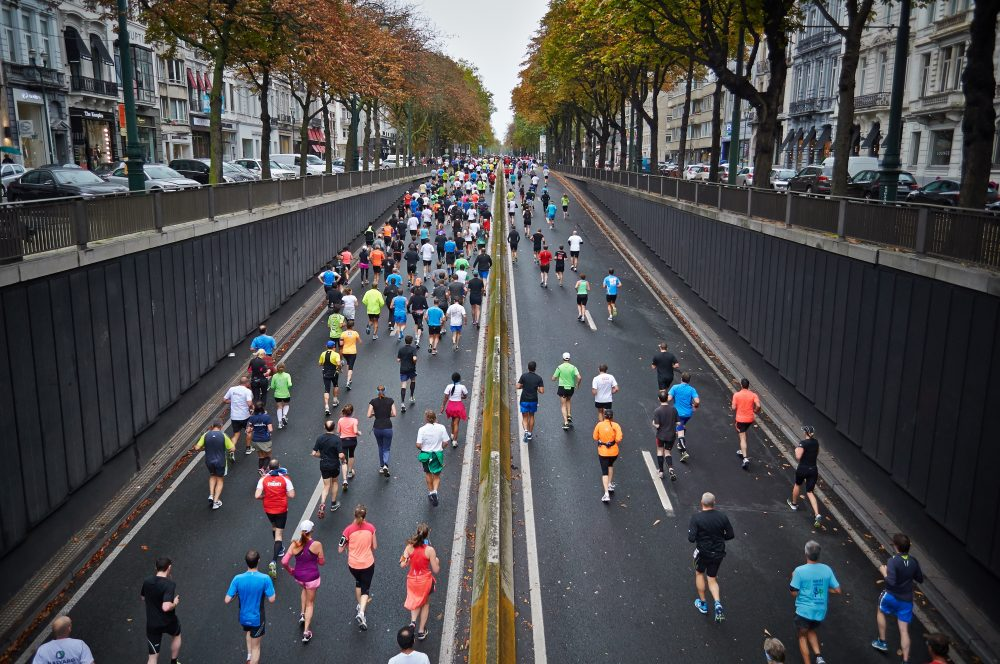Runners in a city marathon