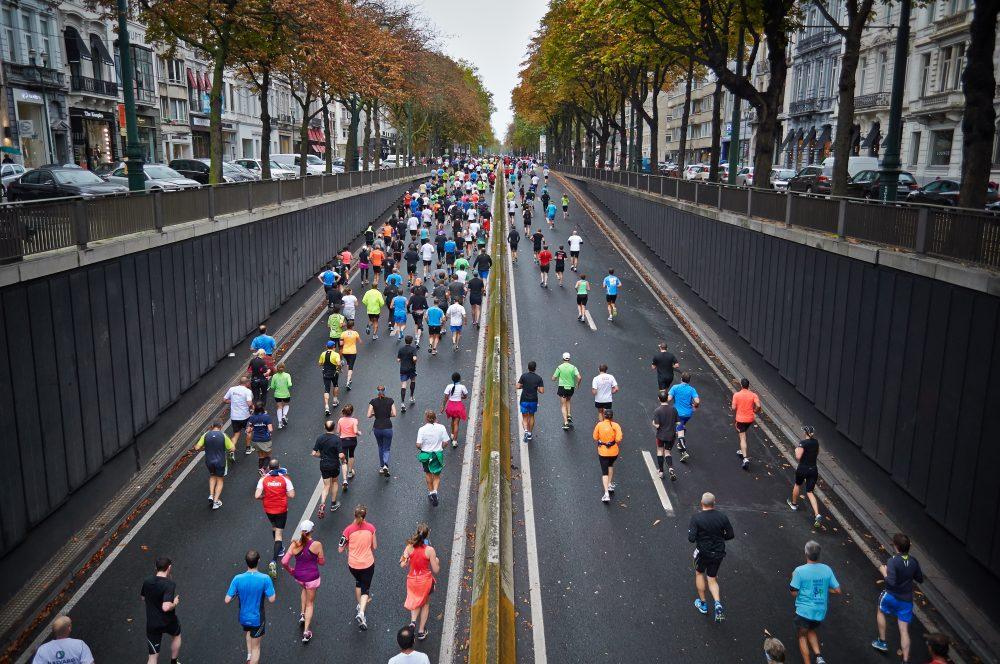 Runners in a city marathon